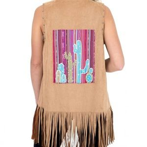 New Andre Suede Cactus Fringe Vest Size Small